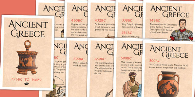 Ancient Greece Timeline Posters - greece, greek, history, display