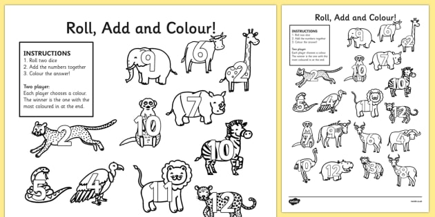 Safari Roll and Colour Worksheet / Activity Sheets- jungle, animals, safari games