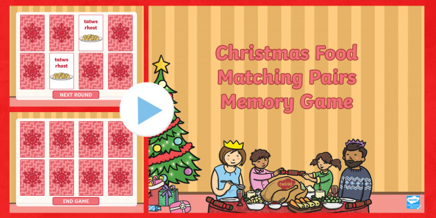 Christmas Food Welsh Second Language Matching Pairs PowerPoint