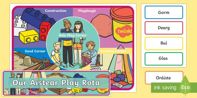 Weekly Aistear Play Rota Large Display Cut-Out Pack - Aistear Resources Pack, Aistear rota, Aistear play, Irish
