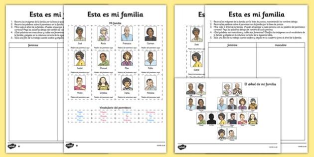 This Is My Family Activity Sheet Spanish - spanish, esta es mi familia, activity, worksheet