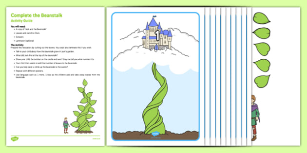 Complete the Beanstalk Busy Bag Resource Pack for Parents - Jack and the Beanstalk, EYFS, Maths, counting