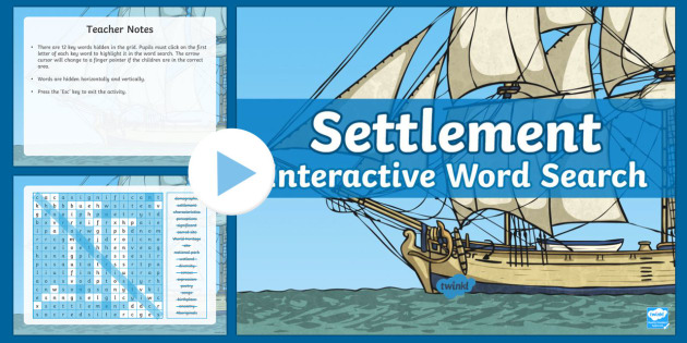 Settlement Interactive Word Search - ACHASSK069, Year 3, AC