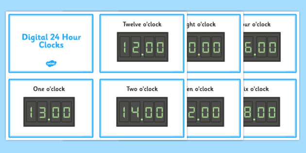 Digital Time Early Years EYFS clock o clock half