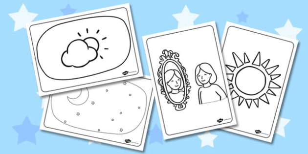 Light and Dark Colouring Pages - light, dark, colouring, pages