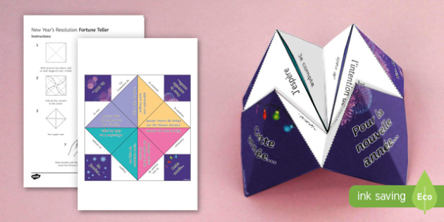 New Year's Resolutions Fortune Teller-French - French, Fortune Teller, New Year, resolutions, nouvelle année, nouvel an, résolutions, future, pla