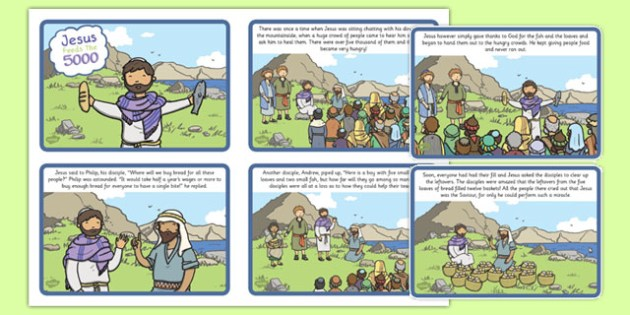 The Loaves And Fishes Sequencing (4 per A4) - the Loaves and the Fishes, loaves, fishes, Jesus, food, the feeding of the five thousand, crowd, sequencing, story sequencing, story resources, 4 per A4, cards, feeding, God, teaching, 5000, people, five
