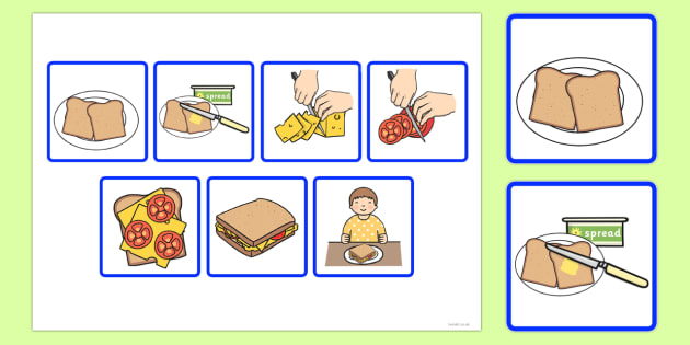 image regarding 4 Step Sequencing Pictures Printable titled 7 Move Sequencing Playing cards - Creating a Sandwich - Twinkl