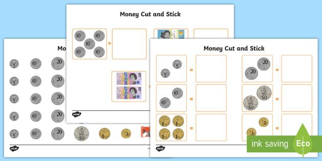 money cut and stick worksheet activity sheet maths australia money. Black Bedroom Furniture Sets. Home Design Ideas