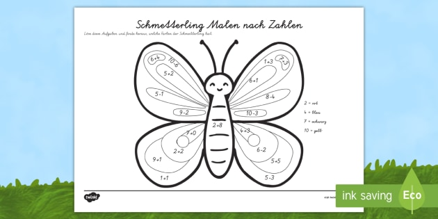 schmetterling malen nach zahlen plus minus 20 10 tiere insekten. Black Bedroom Furniture Sets. Home Design Ideas