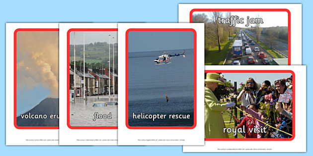 News Story Prompt Pictures - news, newsroom, story promts, promts, pictures, sign, poster, flood, helicopter rescue, news presenter, reporter, camera, headlines, story, press, camera operator, bulletin