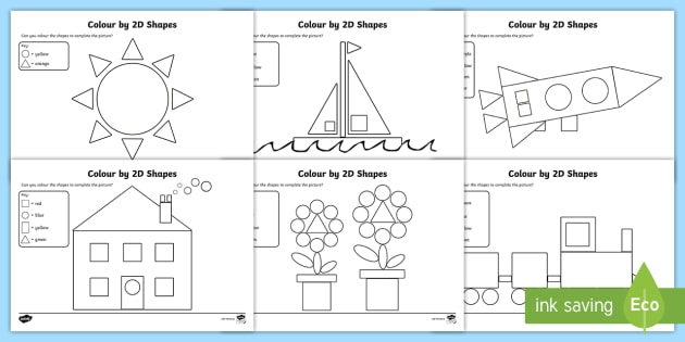 Colour By 2D Shapes Worksheets