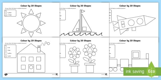 colour by 2d shapes worksheets 2d shapes colouring junior infants senior. Black Bedroom Furniture Sets. Home Design Ideas