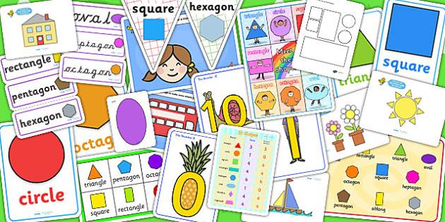 2D Shape Resource Pack - 2d, shapes, 2d shapes, numeracy, maths