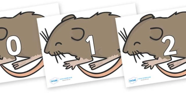 Numbers 0-31 on Mice - 0-31, foundation stage numeracy, Number recognition, Number flashcards, counting, number frieze, Display numbers, number posters