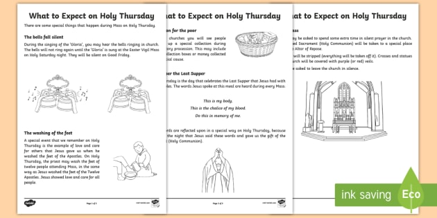 What to Expect on Holy Thursday Worksheet / Worksheets - NI ...