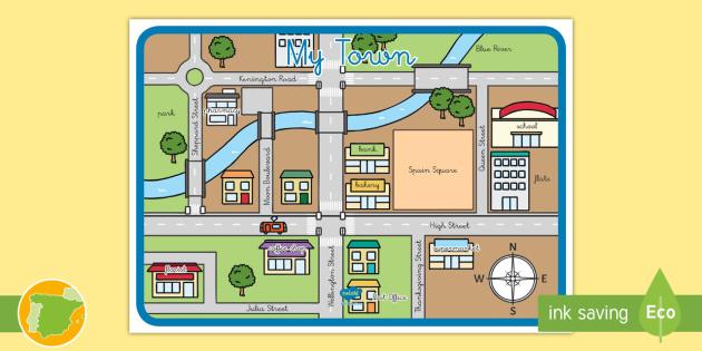 Mapa: Mi ciudad en inglés - dar direcciones, mapa, my town, mu ciudad
