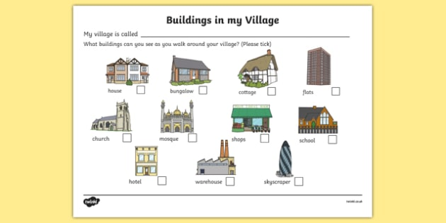Buildings in my village worksheet houses and homes house for Order of building a house