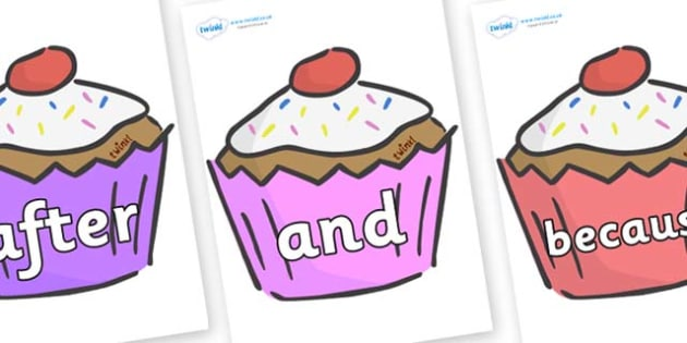 Connectives on Cupcakes - Connectives, VCOP, connective resources, connectives display words, connective displays