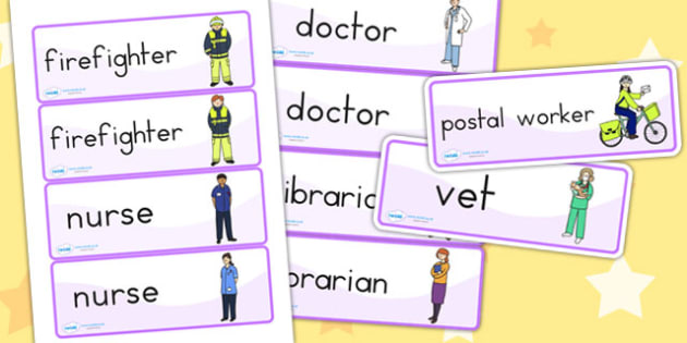 People Who Help Us Word Cards - word cards, flash card, visual aid