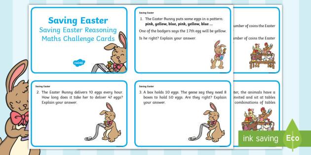 Year 2 Saving Easter Reasoning Maths Challenge Cards ...