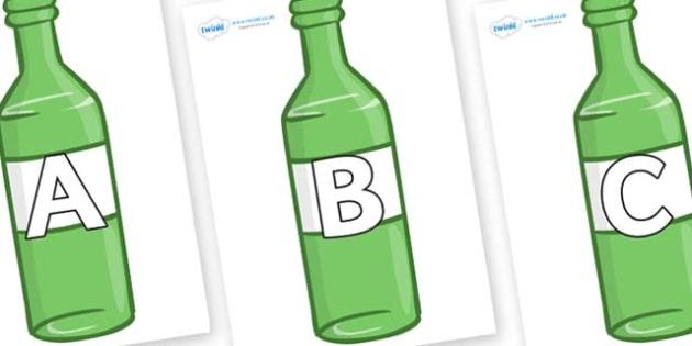 A-Z Alphabet on Green Bottles - A-Z, A4, display, Alphabet frieze, Display letters, Letter posters, A-Z letters, Alphabet flashcards