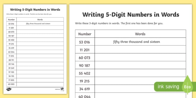Place Value Writing 5-Digit Numbers in Words Activity