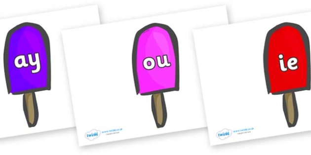 Phase 5 Phonemes on Ice Lollies - Phonemes, phoneme, Phase 5, Phase five, Foundation, Literacy, Letters and Sounds, DfES, display