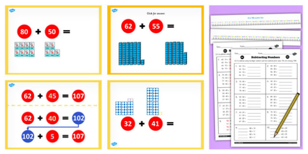 Year 2 Adding 2 2 Digit Numbers Crossing 100 Not Crossing 10 Lesson Teaching Pack - no remainder, no remaining