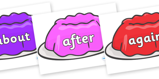 KS1 Keywords on Jelly - KS1, CLL, Communication language and literacy, Display, Key words, high frequency words, foundation stage literacy, DfES Letters and Sounds, Letters and Sounds, spelling