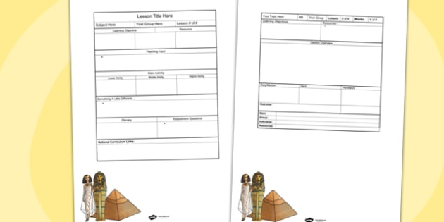 Ancient Egypt Editable Individual Lesson Plan Template Plans