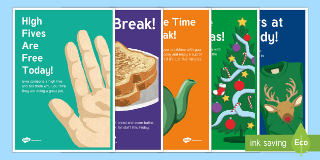 Staffroom Fun Ideas Display Posters - staffroom, christmas, teachers, staff, lunch, break, take a break, fun, party, teaching assistants,