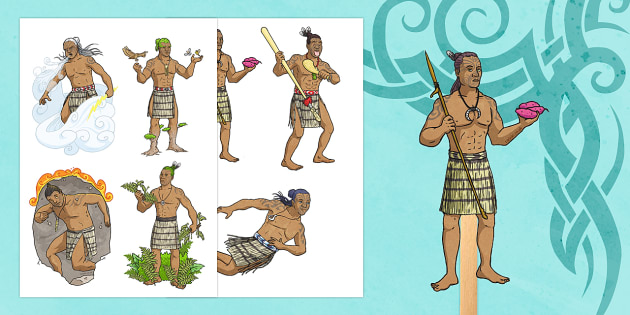 Māori Creation Myth Stick Puppets
