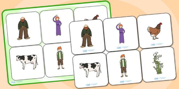 Jack and the Beanstalk Matching Cards and Board - jack and the beanstalk, jack and the beanstalk matching activity, jack and the beanstalk picture matching