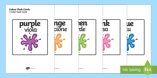 Words In Italian Translated To English: Colour Word Cards Englsih/Italian