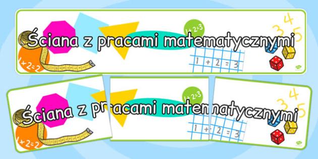 Banner na gazetkę Ściana z pracami matematycznymi po polsku , Polish