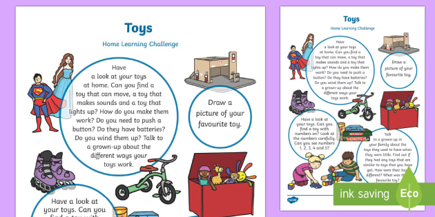 Toys Home Learning Challenge Sheet Nursery FS1 - Toy, game, play, turns, family, puzzle,