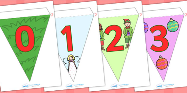 Number Christmas Display Bunting - christmas, number, bunting, display