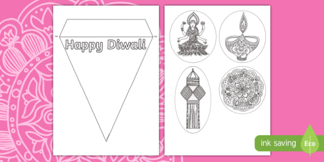 Make your own 'Happy Diwali!'  Bunting Activity