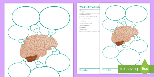 What Is It That Helps Your Brain Relax? Worksheet - young people ...