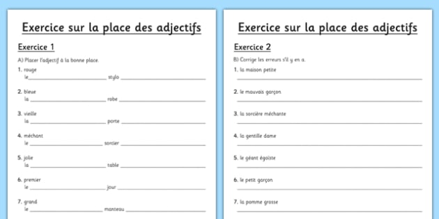 La place des adjectifs Worksheet / Worksheet French - french