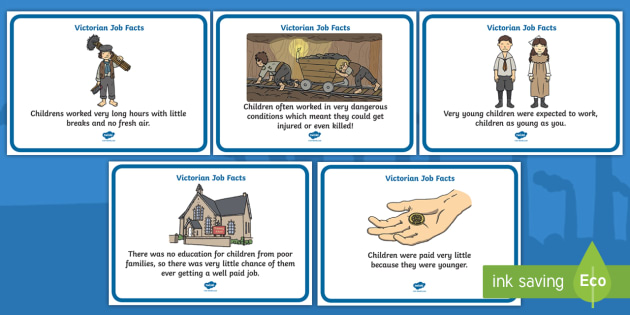 The Victorians Victorian Children Job Facts Poster - Victorians, Queen Victoria, work, children, poster, sign, display, 19th century, British History, Britain, Victorian toys, Victorian school, butler