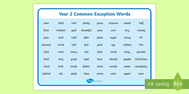 Year 2 Common Exception Word Mat - year 2, common exception words, word mat, words