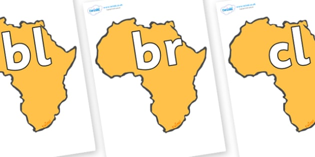 Initial Letter Blends on Africa - Initial Letters, initial letter, letter blend, letter blends, consonant, consonants, digraph, trigraph, literacy, alphabet, letters, foundation stage literacy