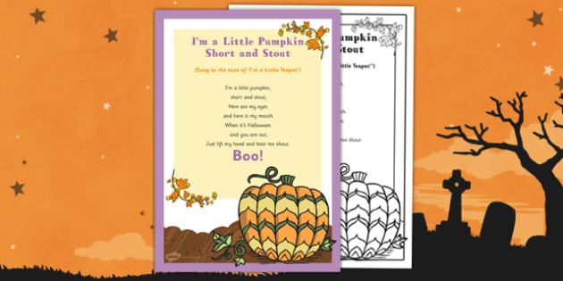 I'm a Little Pumpkin Short and Stout Rhyme - EYFS, Halloween, pumpkin, poem