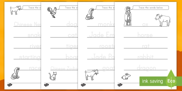 Chinese New Year Story Trace The Words Activity Sheets Chinese