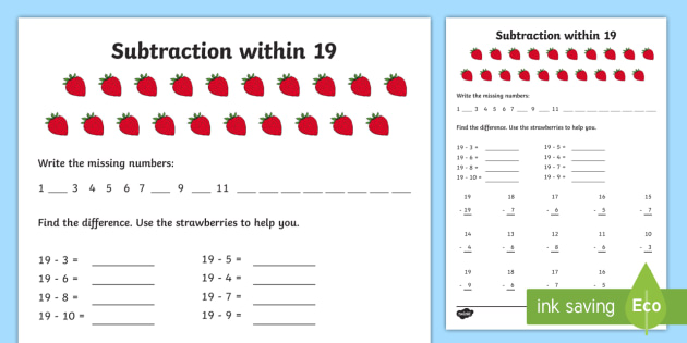 Subtraction within 19 Worksheet / Worksheet - NI KS1 ...