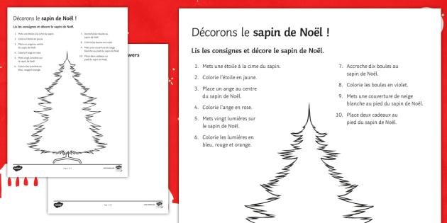 Décorons le sapin de Noël ! Fiche de lecture - Christmas, French, Noël, lecture, reading, compréhension, écrite, sapin, tree,French