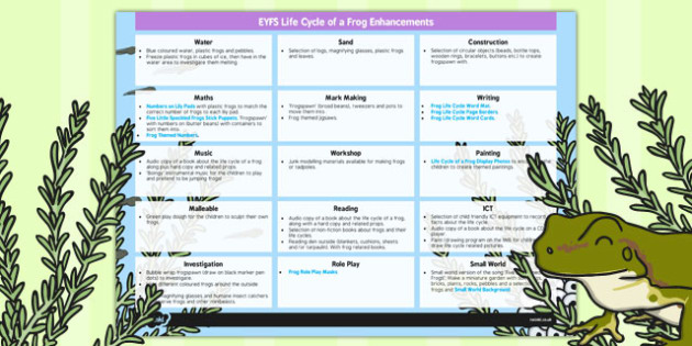 EYFS Life Cycle of a Frog Enhancement Ideas - enhancement ideas, planning