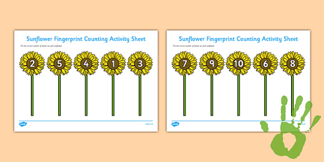 Sunflower Fingerprint Counting Activity Sheet Pack - EYFS activities, number, EAD, life cycle, plants and growth, worksheet